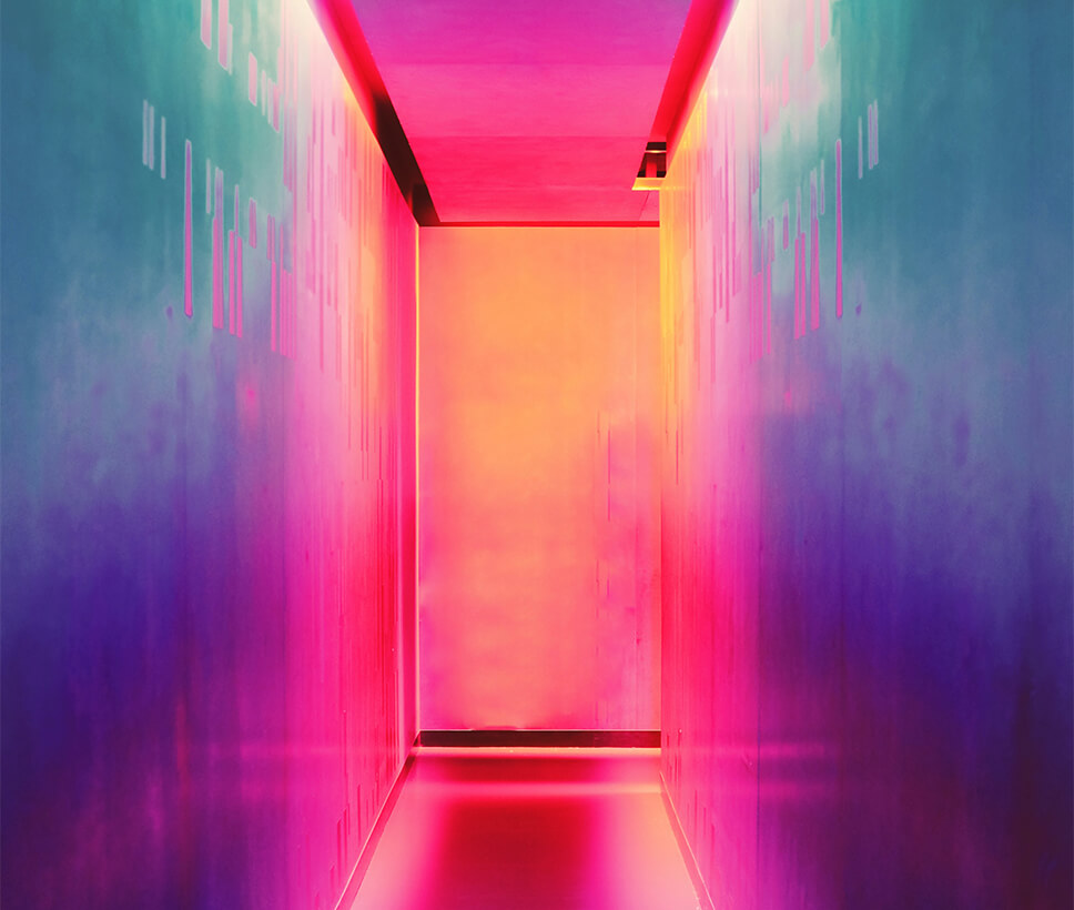 Multi-coloured hallway